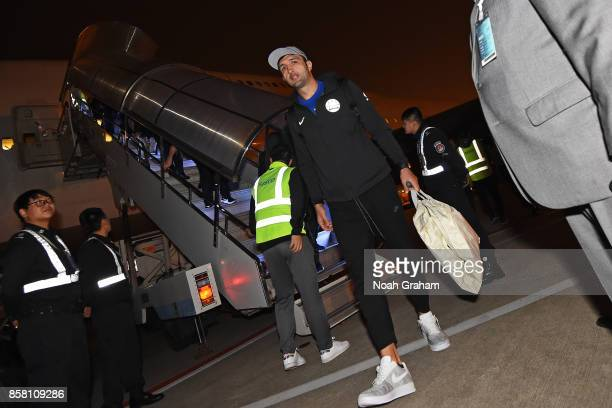 Zaza Pachulia of the Golden State Warriors exits the plane in Shanghai China as part of 2017 NBA Global Games China on October 5 2017 NOTE TO USER...