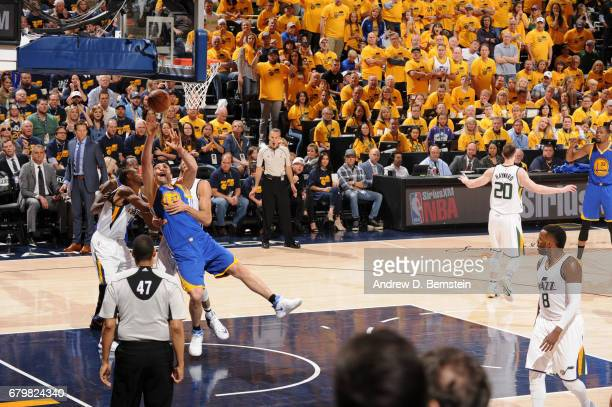 Zaza Pachulia of the Golden State Warriors goes to the basket against the Utah Jazz during Game Three of the Western Conference Semifinals of the...
