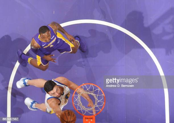 Zaza Pachulia of the Golden State Warriors goes to the basket against the Los Angeles Lakers on November 29 2017 at STAPLES Center in Los Angeles...