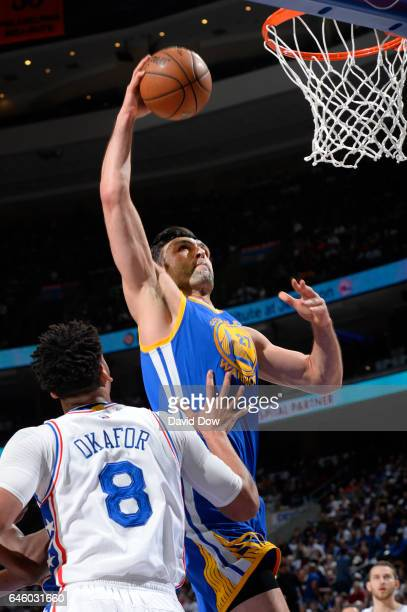 Zaza Pachulia of the Golden State Warriors goes up for a dunk during a game against the Philadelphia 76ers on February 27 2017 at the Wells Fargo...