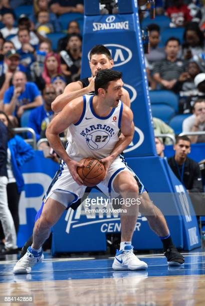 Zaza Pachulia of the Golden State Warriors handles the ball against the Orlando Magic on December 1 2017 at Amway Center in Orlando Florida NOTE TO...