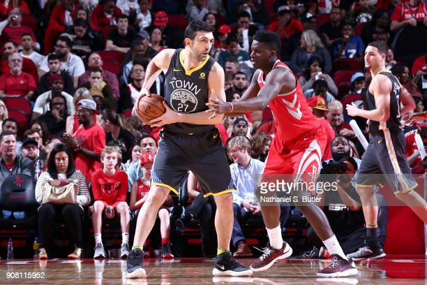 Zaza Pachulia of the Golden State Warriors handles the ball against the Houston Rockets on January 20 2018 at the Toyota Center in Houston Texas NOTE...