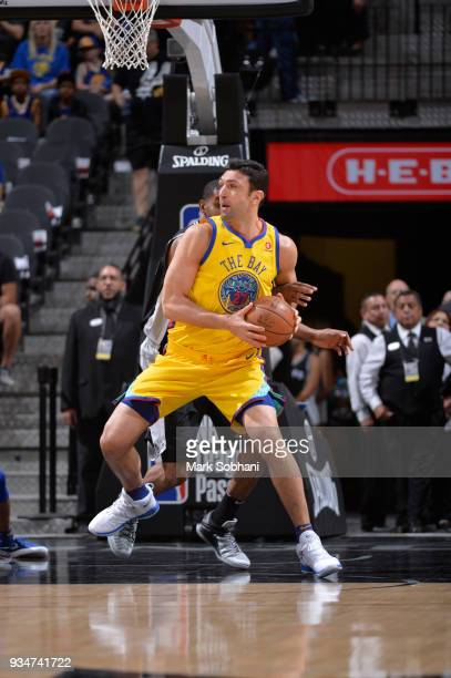 Zaza Pachulia of the Golden State Warriors handles the ball against the San Antonio Spurs on March 19 2018 at the ATT Center in San Antonio Texas...