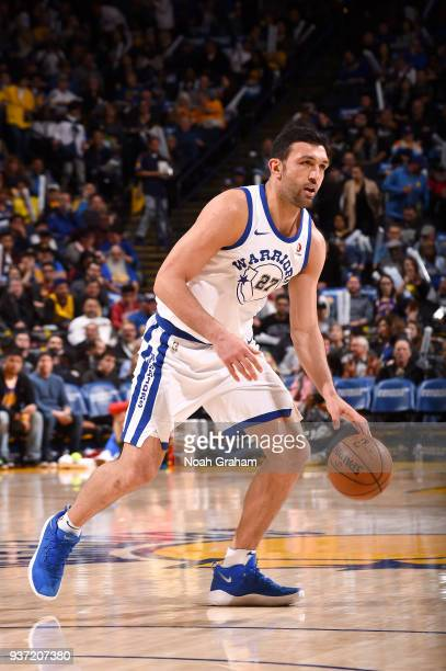 Zaza Pachulia of the Golden State Warriors handles the ball against the Atlanta Hawks on March 23 2018 at ORACLE Arena in Oakland California NOTE TO...