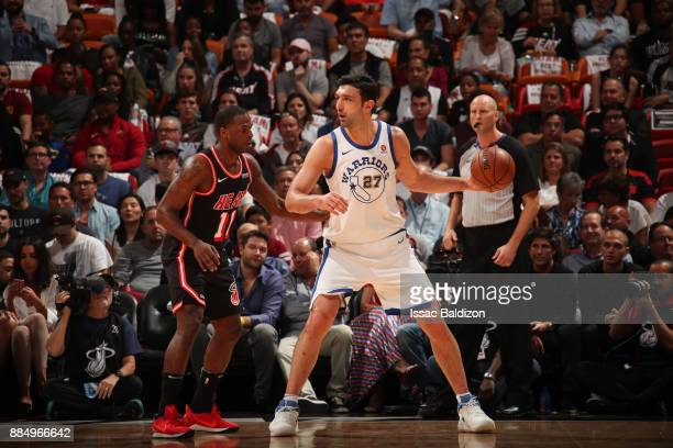 Zaza Pachulia of the Golden State Warriors handles the ball during the game against the Miami Heat on December 3 2017 in Miami Florida NOTE TO USER...