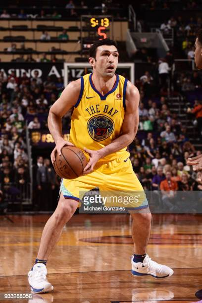 Zaza Pachulia of the Golden State Warriors handles the ball during the game against the Phoenix Suns on March 17 2018 at Talking Stick Resort Arena...