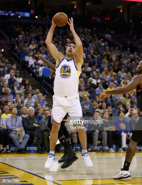 Zaza Pachulia of the Golden State Warriors in action against the Miami Heat at ORACLE Arena on November 6 2017 in Oakland California NOTE TO USER...