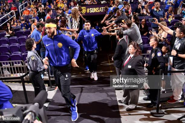 Zaza Pachulia of the Golden State Warriors is introduced onto the court before the game against the Golden State Warriors on April 8 2018 at Talking...