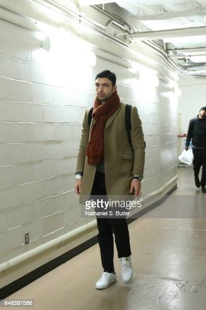 Zaza Pachulia of the Golden State Warriors is seen before the game against the New York Knicks on March 5 2017 at Madison Square Garden in New York...