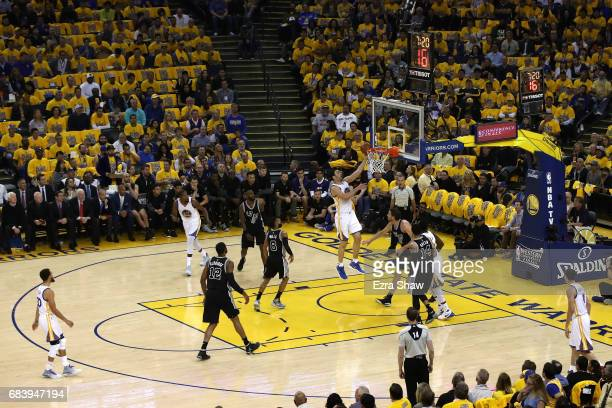 Zaza Pachulia of the Golden State Warriors makes a layup against the San Antonio Spurs during Game Two of the NBA Western Conference Finals at ORACLE...