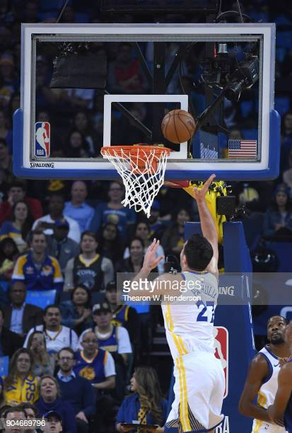 Zaza Pachulia of the Golden State Warriors shoots against the LA Clippers during the first half of their NBA Basketball game at ORACLE Arena on...
