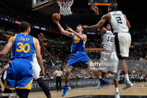 Zaza Pachulia of the Golden State Warriors shoots the ball against the San Antonio Spurs on March 29 2017 at the ATT Center in San Antonio Texas NOTE...
