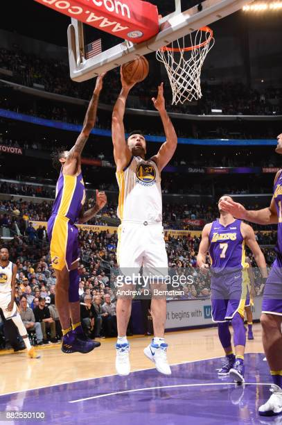 Zaza Pachulia of the Golden State Warriors shoots the ball against the Los Angeles Lakers on November 29 2017 at STAPLES Center in Los Angeles...