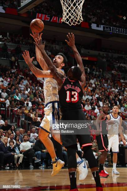 Zaza Pachulia of the Golden State Warriors shoots the ball against the Miami Heat on December 3 2017 in Miami Florida NOTE TO USER User expressly...