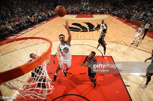 Zaza Pachulia of the Golden State Warriors shoots the ball against the Toronto Raptors on January 13 2018 at the Air Canada Centre in Toronto Ontario...