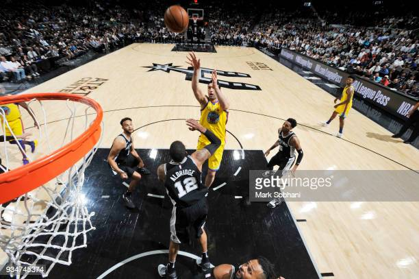 Zaza Pachulia of the Golden State Warriors shoots the ball against the San Antonio Spurs on March 19 2018 at the ATT Center in San Antonio Texas NOTE...