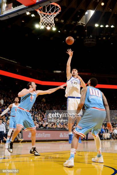 Zaza Pachulia of the Golden State Warriors shoots the ball during the game against the Sacramento Kings on March 16 2018 at ORACLE Arena in Oakland...