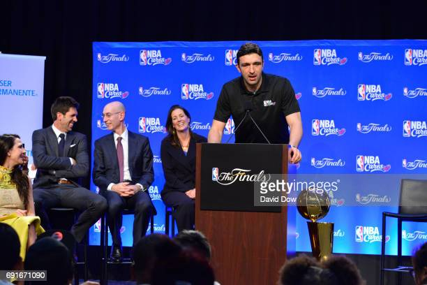 Zaza Pachulia of the Golden State Warriors speaks at the 2017 NBA Finals Cares Legacy Project as part of the 2017 NBA Finals on June 2 2017 at...