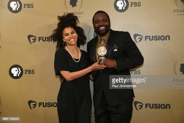 Zazie Beetz and Bryan Tyree Henry pose with an award during The 76th Annual Peabody Awards Ceremony at Cipriani Wall Street on May 20 2017 in New...