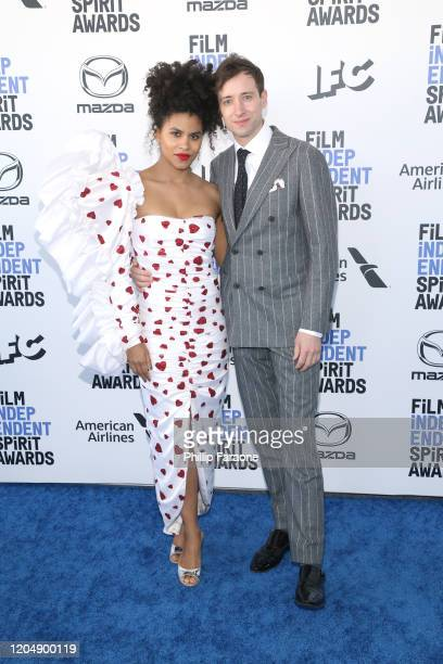 Zazie Beetz and David Rysdahl attend the 2020 Film Independent Spirit Awards on February 08, 2020 in Santa Monica, California.