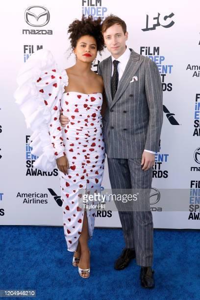 Zazie Beetz and David Rysdahl attend the 2020 Film Independent Spirit Awards at Santa Monica Pier on February 08, 2020 in Santa Monica, California.