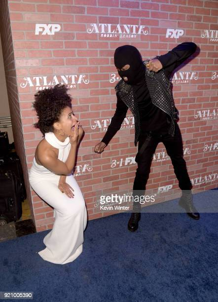 Zazie Beetz and Lakeith Stanfield attend the premiere for FX's 'Atlanta Robbin' Season' at The Theatre at Ace Hotel on February 19 2018 in Los...