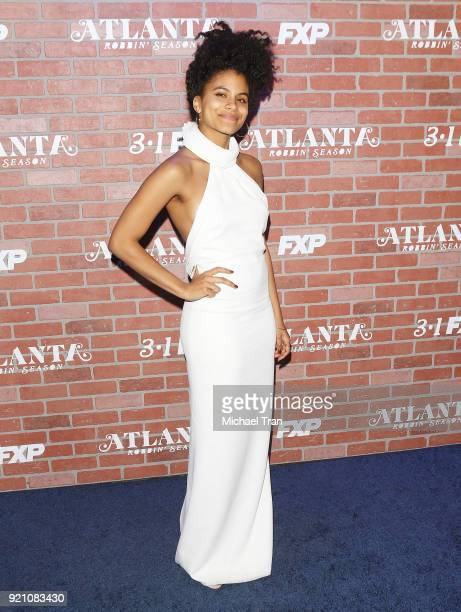 Zazie Beetz arrives at FX's 'Atlanta Robbin' Season' Los Angeles premiere held at Ace Theater Downtown LA on February 19 2018 in Los Angeles...