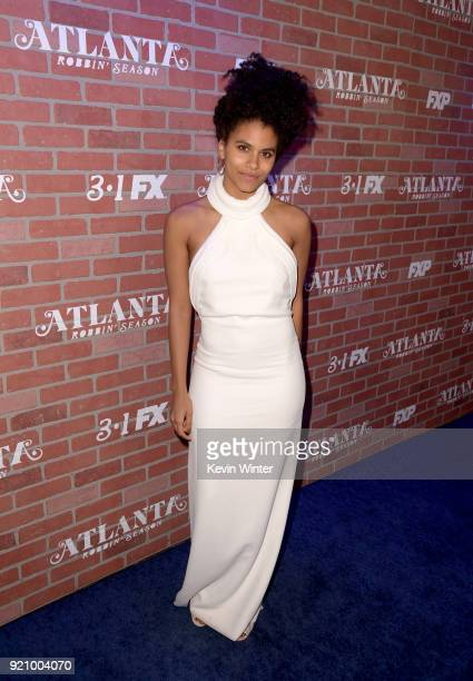 Zazie Beetz attends the premiere for FX's 'Atlanta Robbin' Season' at The Theatre at Ace Hotel on February 19 2018 in Los Angeles California