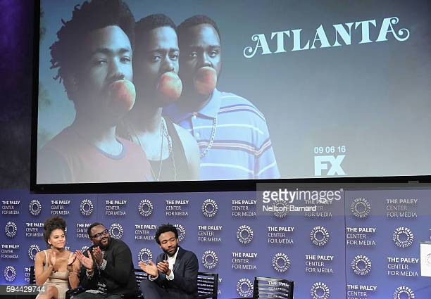 """Zazie Beetz, Brian Tyree Henry and Donald Glover speak onstage at the """"Atlanta"""" New York Screening at The Paley Center for Media on August 23, 2016..."""