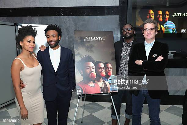 Zazie Beetz Brian Tyree Henry Donald Glover and Executive producer Paul Simms attend the 'Atlanta' New York Screening at The Paley Center for Media...