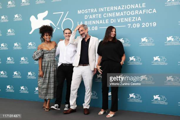 Zazie Beetz Joaquin Phoenix director Todd Phillips and Emma Tillinger Koskoff attends Joker photocall during the 76th Venice Film Festival at Sala...