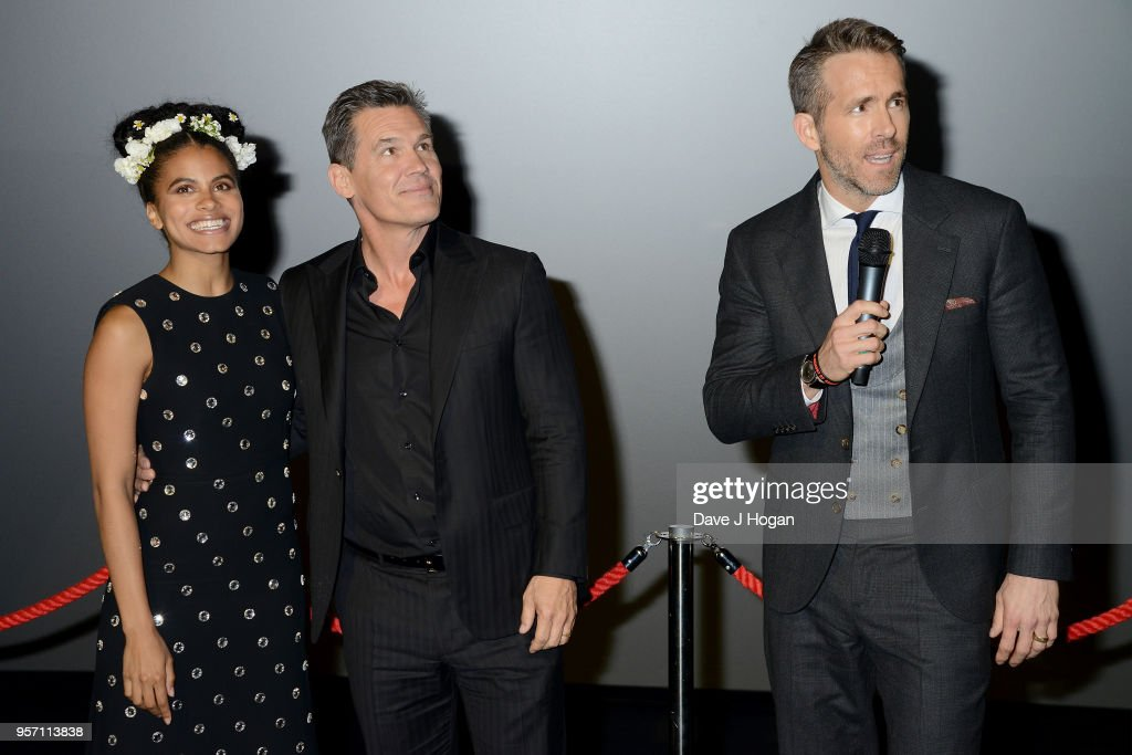 Zazie Beetz, Josh Brolin and Ryan Reynolds attend the 'Deadpool 2' fan screening at Cineworld Leicester Square on May 10, 2018 in London, England.