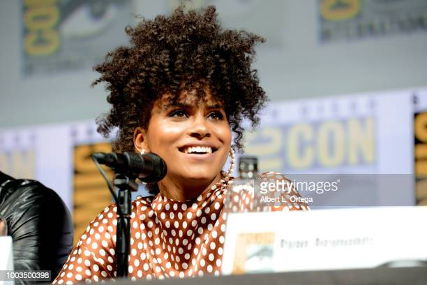 Zazie Beetz speaks onstage at the Deadpool 2 panel during ComicCon International 2018 at San Diego Convention Center on July 21 2018 in San Diego...