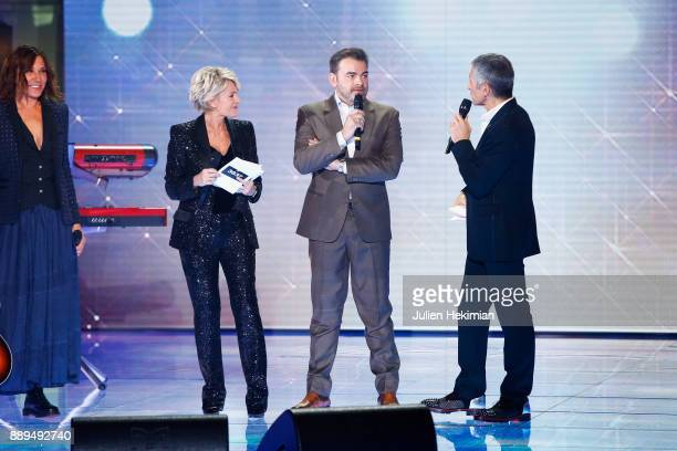 Zazie Sophie Davant Clovis Cornillac and Nagui perform on stage during the 31st France Television Telethon at Pavillon Baltard on December 9 2017 in...