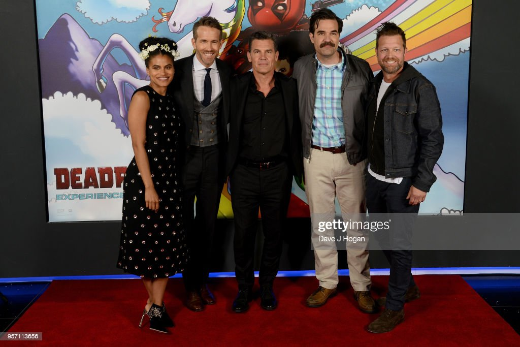 Zazzie Beetz, Ryan Reynolds, Josh Brolin, Rob Delaney and director David Leitch attend the 'Deadpool 2' fan screening at Cineworld Leicester Square on May 10, 2018 in London, England.