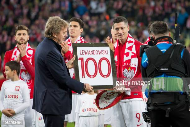 Zbigniew Boniek and Robert Lewandowski during the international friendly soccer match between Poland and Czech Republic at Energa Stadium in Gdansk...