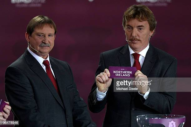 Zbigniew Boniek draws Northern Ireland into Group C alongside Andrzej Szarmach during the Euro2012 Qualifying Draw at the Palace of Culture and...