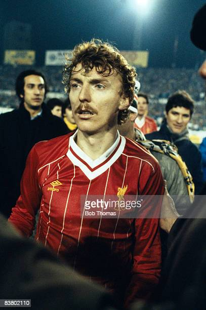 Zbigniew Boniek wearing a Liverpool shirt after exchanging his shirt with an opponent following the UEFA Super Cup Final in which Juventus defeated...