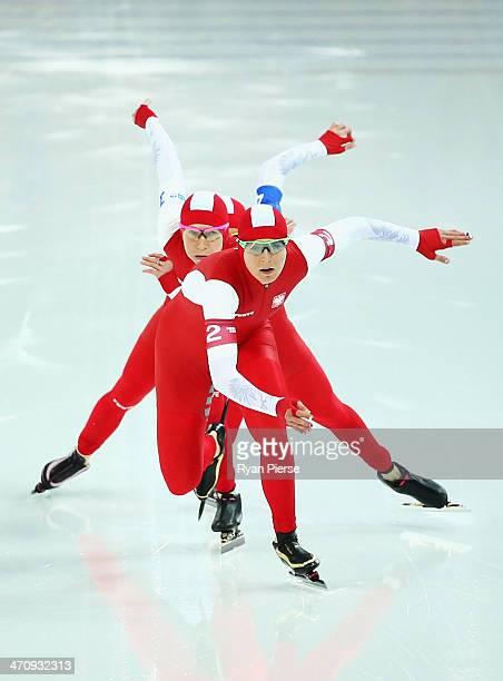 Zbigniew Brodka Jan Szymanski and Konrad Niedzwiedzki of Poland compete during the Men's Team Pursuit Quarterfinals Speed Skating event on day...
