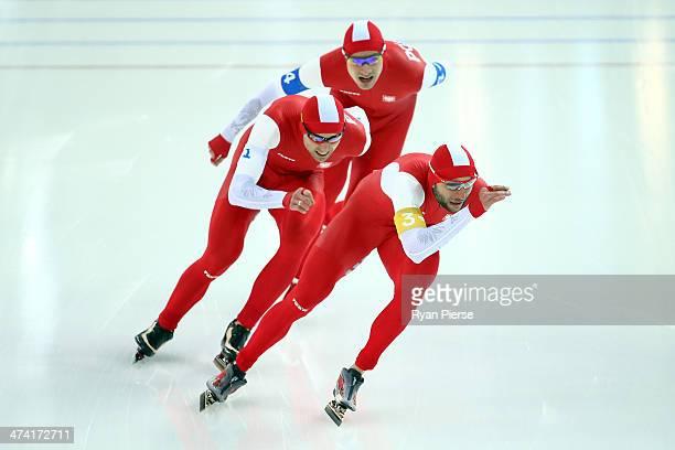 Zbigniew Brodka Jan Szymanski and Konrad Niedzwiedzki of Poland compete during the Men's Team Pursuit Final B Speed Skating event on day fifteen of...