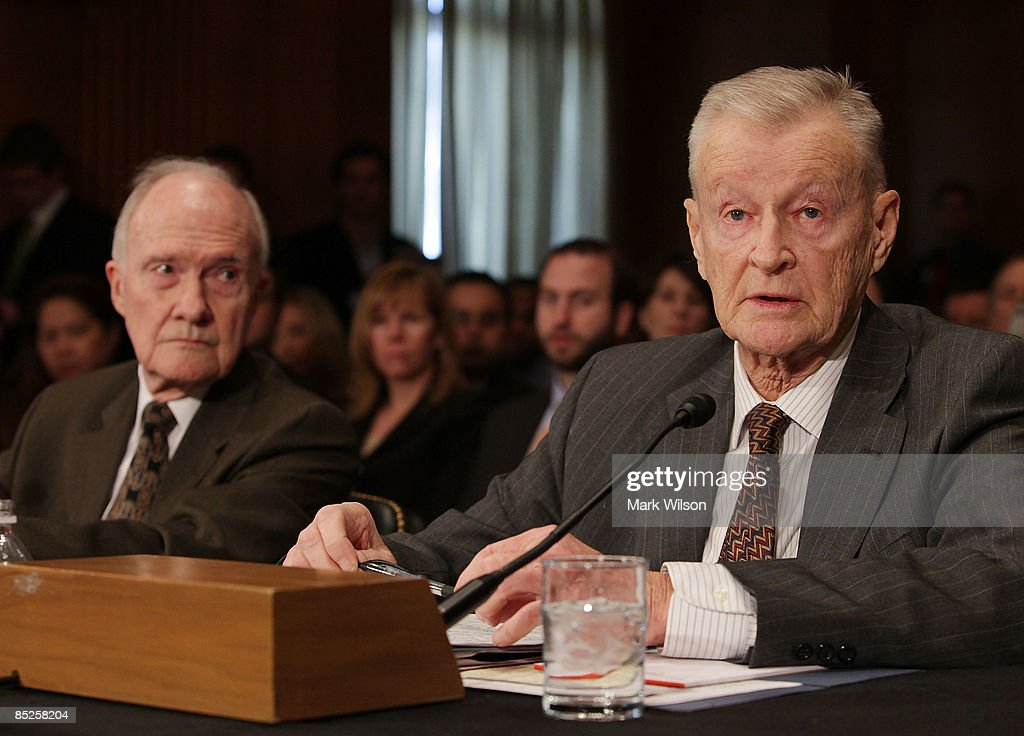 Zbigniew Brzezinski, former national security adviser to President Carter and Gen. Brent Scowcroft (L), former national security adviser participate in the Senate Foreign Relations Committee hearing on Capitol Hill on March 5, 2009 in Washington, DC. The SFRC committee, chaired by Sen. John Kerry (D-MA), is hearing testimony on the United States' strategy in dealing with Iran and reports on their nuclear program.