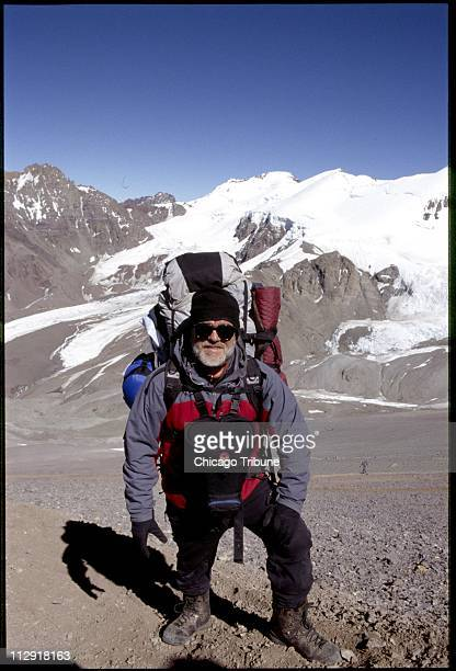 Zbigniew Bzdak poses at Plaza Canada camp at 16100 feet at Aconcagua mountain in Argentina in January 2005