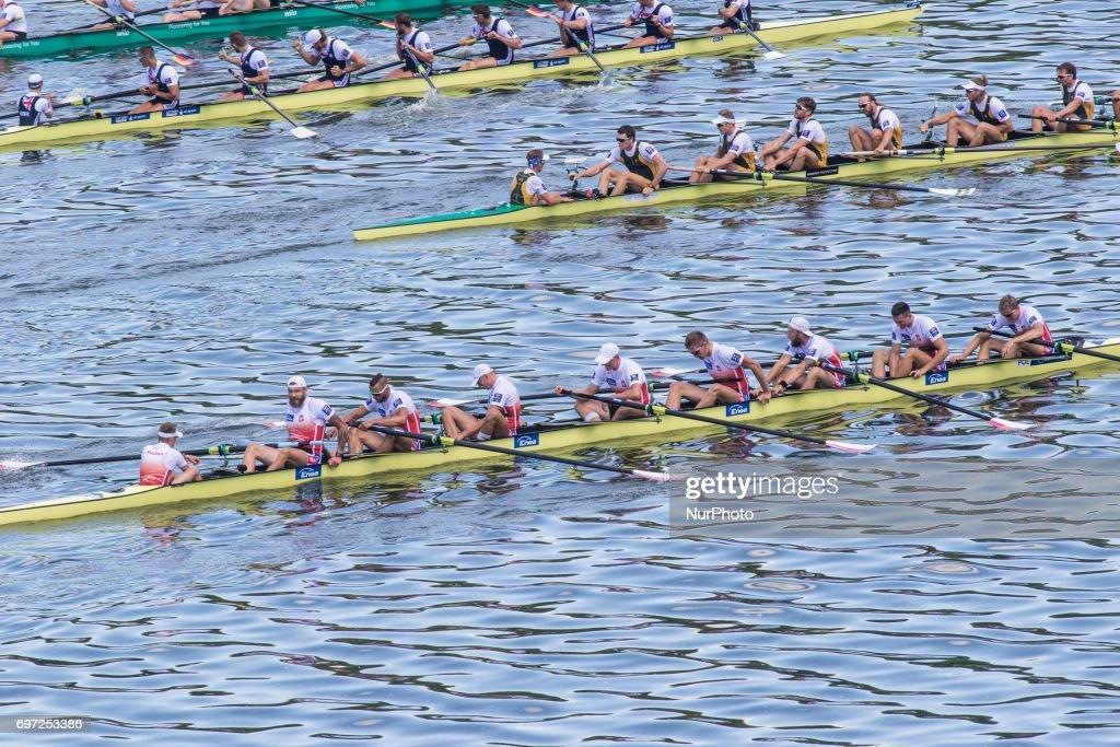 Zbigniew Schodowski, Bartosz Modrzynski, Ryszard Ablewski, Robert Fuchs, Krystian Aranowski, Mateusz Wilangowski, Marcin Brzezinski, Piotr Juszczak, Daniel Trojanowski (POL) M8+ during the final day of the 2017 World Rowing World Cup in Poznan, Poland, on 18 June 2017.