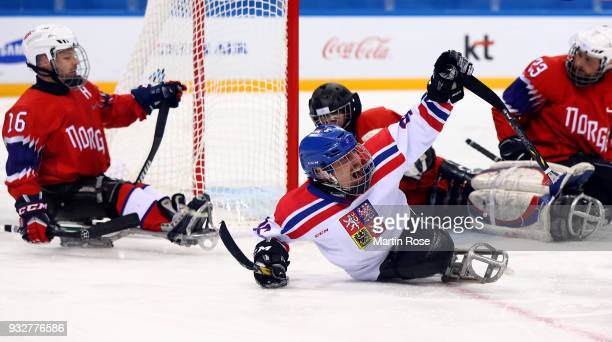 Zdenek Krupicka of Czech Republic celebrates after he scores a goal in the Ice Hockey classification game between Norway and Czech Republic during...
