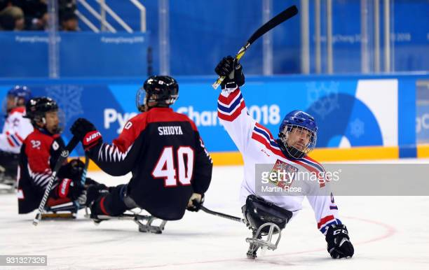 Zdenek Krupicka of Czech Republic celebrates victory over Japan in the Ice Hockey Preliminary Round Group B game between Czech Republic and Japan...