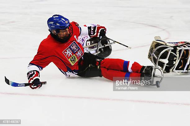 Zdenek Safranek of the Czech Republic shoots for goal during the Ice Sledge Hockey Classification match between Korea and the Czech Republic at the...