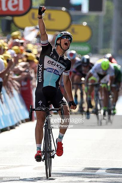 Zdenek Stybar of Czech Republic riding for EtixxQuickStep celebrates as he wins stage six of the 2015 Tour de France from Abbeville to Le Havre on...