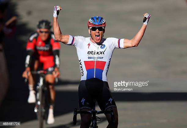 Zdenek Stybar of the Czech Republic and Etixx - Quick-Step celebrates victory as he crosses the finish line during the 2015 Strade Bianche from to...