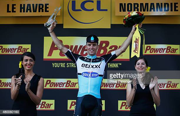 Zdenek Stybar of the Czech Republic and EtixxQuick Step celebrates the stage victory on the podium after stage six of the 2015 Tour de France a...