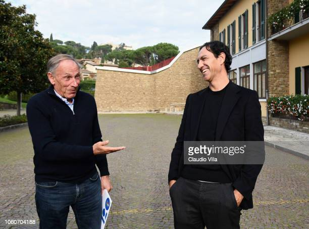 Zdenek Zeman and Alessandro Nesta chat at Centro Tecnico Federale di Coverciano on November 12 2018 in Florence Italy